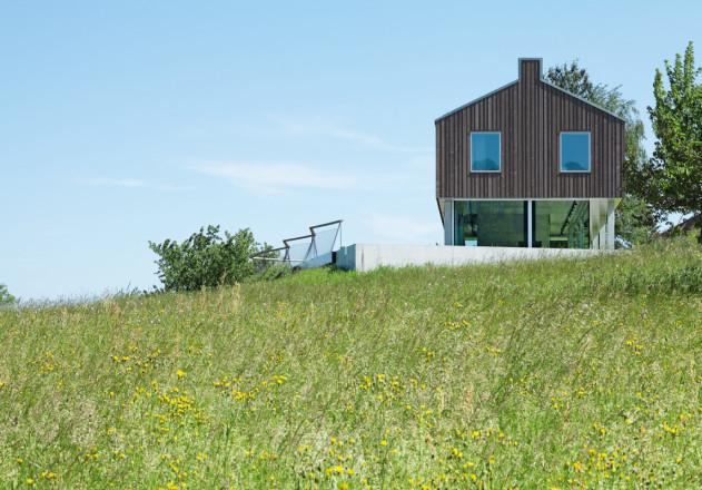 Passepartout als Holzterasse um das zeitlose Einfamilienhaus