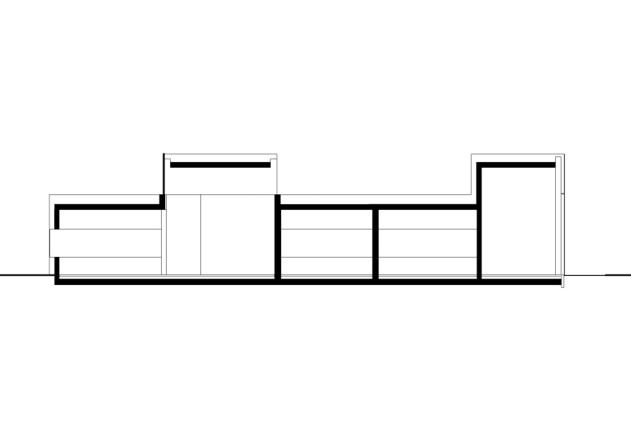 Gatermann Schossig Architekten Bungalow im Gruenen Laengsschnitt