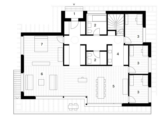 Husistein Architekten modernes Holzhaus Grundriss EG