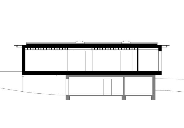 Husistein Architekten modernes Holzhaus Laengsschnitt