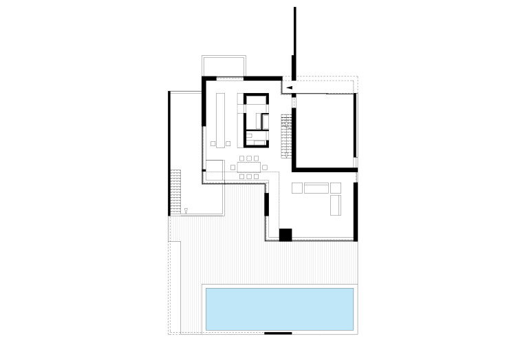 Titus Bernhard Architekten Wohnhaus am Starnberger See Grundriss Erdgeschoss mit Pool