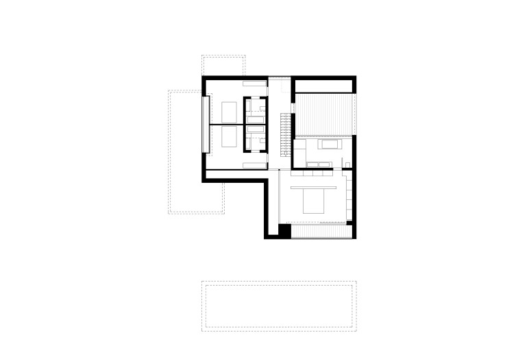 Titus Bernhard Architekten Wohnhaus am Starnberger See Grundriss Obergeschoss