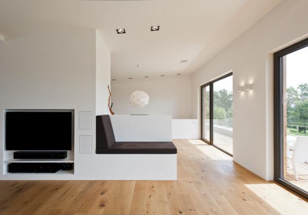 Gramming Rosenmueller Architekten Einfamilienhaus mit Einliegerwohnung Wohnzimmer