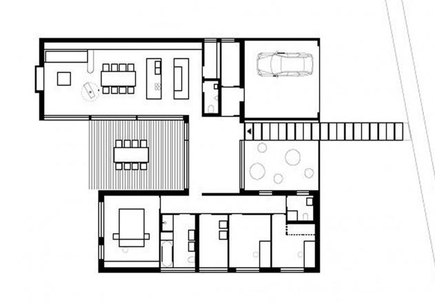 Holzhaus mit hof moderne einfamilienh user for Architektur einfamilienhaus grundrisse