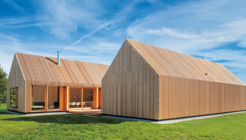 Holzhaus mit hof moderne einfamilienhäuser