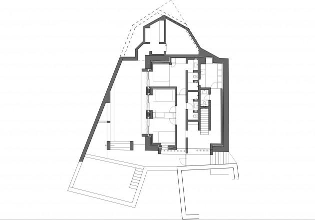 Ruinelli Associati Architetti wohnen im Stall Grundriss Erdgeschoss