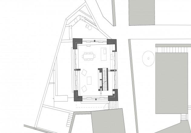 Ruinelli Associati Architetti wohnen im Stall Grundriss erstes Obergeschoss