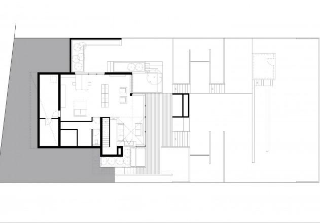 Fuchs Wacker Architekten Terrassenhaus am Hang Grundriss Erdgeschoss