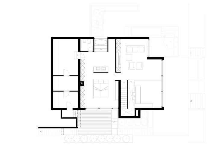 Fuchs Wacker Architekten Terrassenhaus am Hang Grundriss erstes Obergeschoss