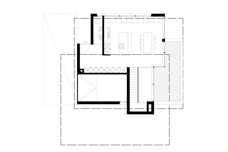 Fuchs Wacker Architekten Terrassenhaus am Hang Grundriss zweites Obergeschoss
