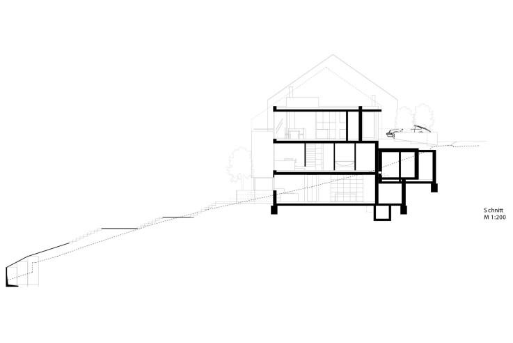 Fuchs Wacker Architekten Terrassenhaus am Hang Grundriss Schnitt