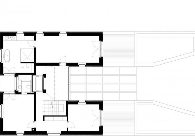 Tillmann Wagner Architekten Mehrgenerationen-Villa am See Grundriss erstes Obergeschoss