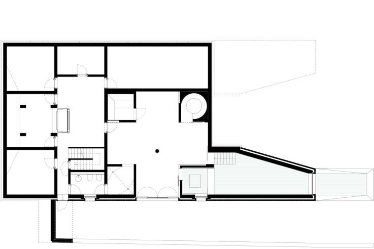Tillmann Wagner Architekten Mehrgenerationen-Villa am See Grundriss Untergeschoss