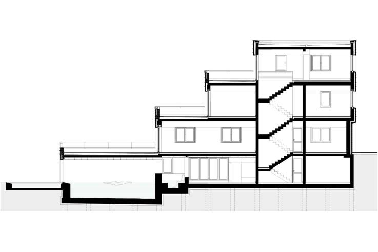 Tillmann Wagner Architekten Mehrgenerationen-Villa am See Schnitt