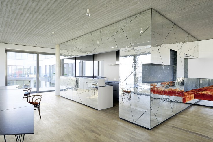 Andreas Vetter Kolumne Wohnen verspiegelte Küchenfront moderne Küche