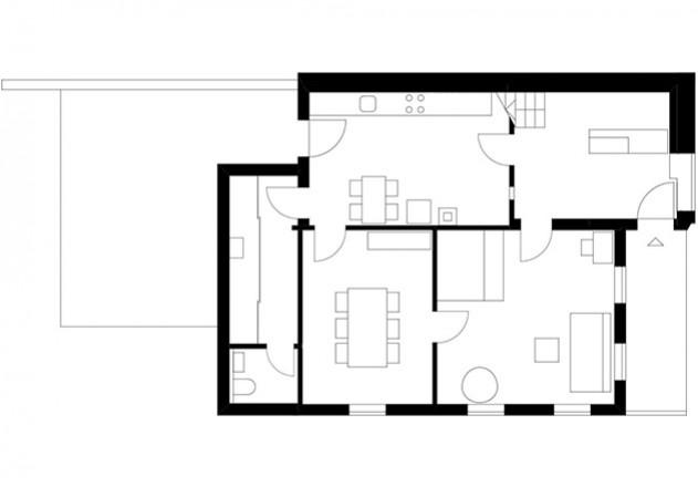 Brugger Architekten modernisiertes Bauernhaus Grundriss EG