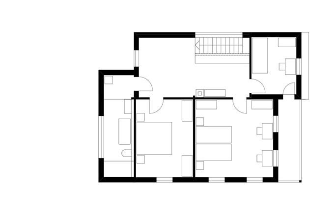 Brugger Architekten modernisiertes Bauernhaus Grundriss OG