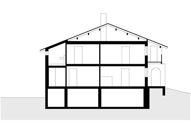 Brugger Architekten modernisiertes Bauernhaus Schnitt