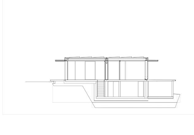 Werner Sobek recyclebares Haus Glaspavillon Schnitt