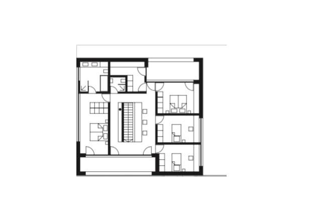 Haller und Plattner Holzriegelhaus Holzverschindelung Grundriss OG