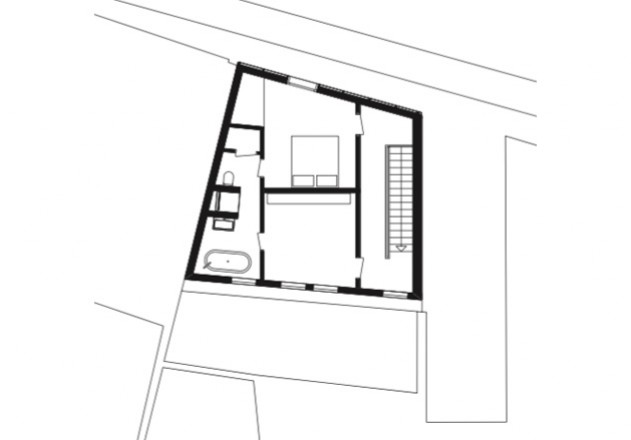 Bachmann Badie Architekten modernes Stadthaus Grundriss Dachgeschoss