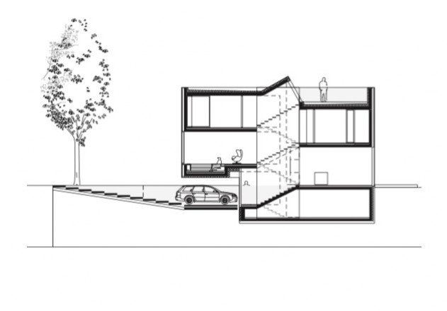 Laket Architekten Split-Level-Haus Schnitt