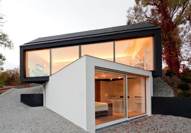 fabi Architekten Neubau Atelierhaus schwarz auf weiss