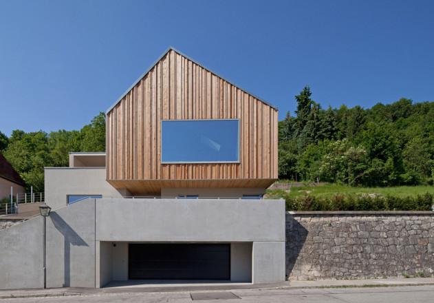 fabi Architekten Neubau Haus F asymmetrisches Satteldach