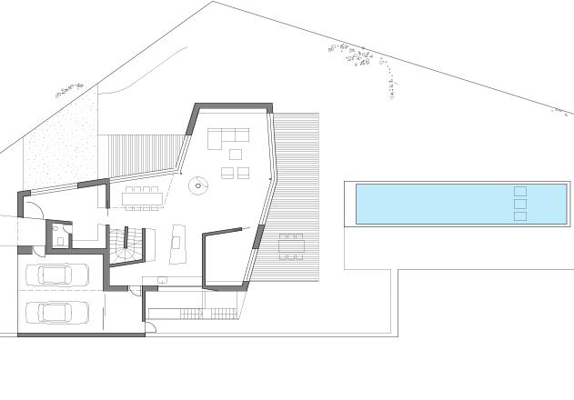 Lynx Architecture Einfamilienhaus gestockter Beton Grundriss EG