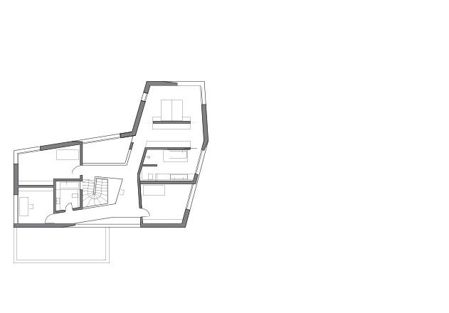 Lynx Architecture Einfamilienhaus gestockter Beton Grundriss OG