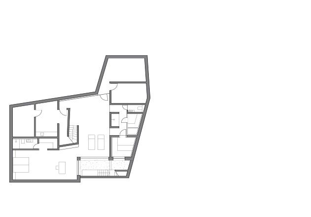 Lynx Architecture Einfamilienhaus gestockter Beton Grundriss UG