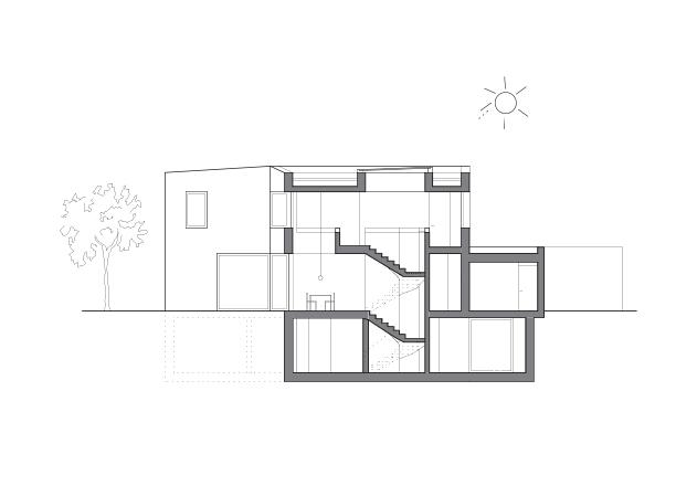 Lynx Architecture Einfamilienhaus gestockter Beton Querschnitt